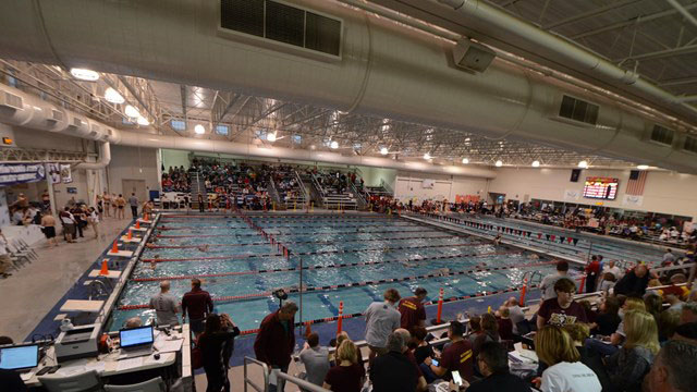 Husky swimmers at ncaas secv8 for Bloomsburg university swimming pool